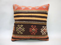 Square Kilim Pillow, 16x16 in, Sofa Pillow, Throw Pillow, Decorative Pillow