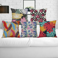 Linen Abstract Cover Cotton Case Pillow Decoration leaves Cushion Sofa Bed Home