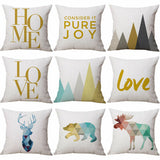 AB_ FT- Home Love Deer Linen Pillow Case Bed Sofa Square Throw Cushion Cover Dec