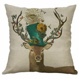 "Throw Cushion Cover Pillow Case Christmas Decor deer 18"" leaf Home Cotton Linen"