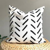 Boho MudCloth Inspired African Decorative Accent Pillow Cover Case Black Ivory