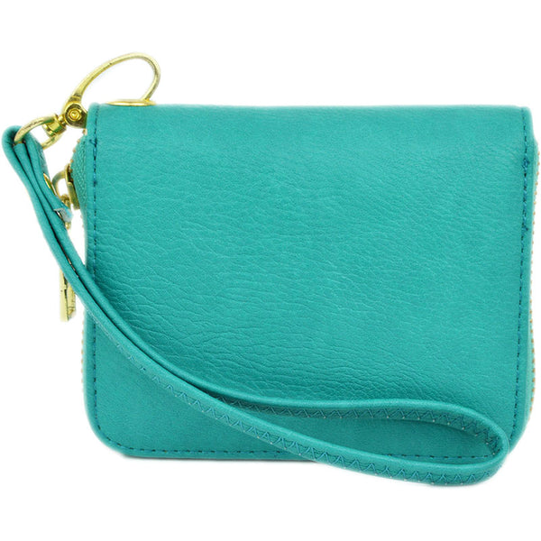 mini wallet wristlet in turquoise with detachable strap