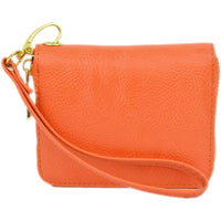 mini wallet wristlet in orange with detachable strap