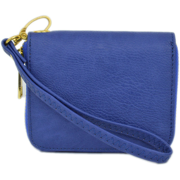 mini wallet wristlet in royal blue with detachable strap