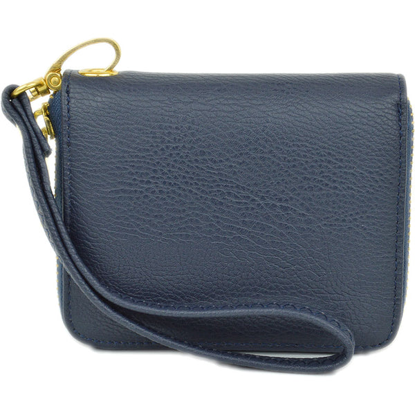mini wallet wristlet in navy with detachable strap