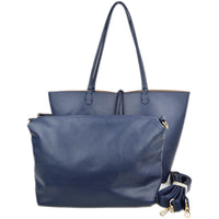 Pic of both pieces of the Navy/Khaki Reversible Tote; inner zippered pouch with OTS or crossbody strap