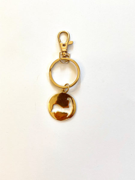 Cape Cod Cutout Key Fob in Gold