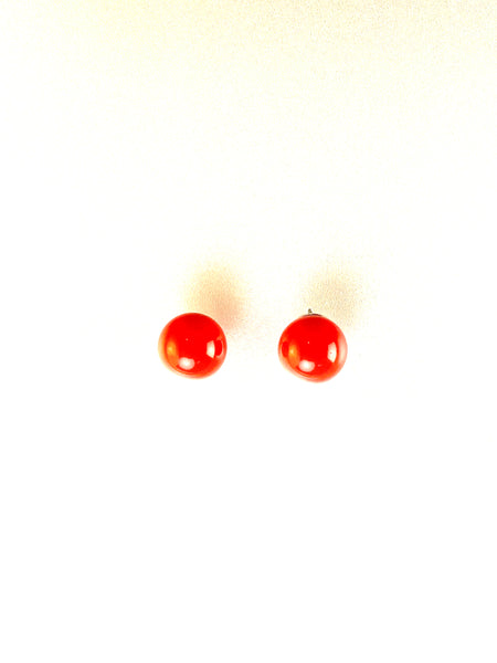 10MM Coral Pearls on Silver Post Earrings