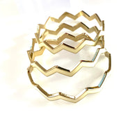 3 piece Ivory on gold Chevron Bangles not stackef