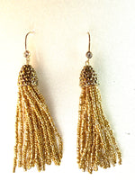 Gold Seed Bead Fishhook Tassel Earrings