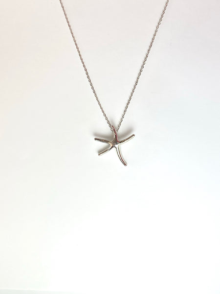 Silver Dancing Starfish Pendant Necklace