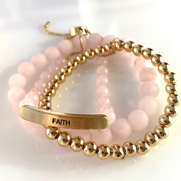 3 piece  set: Faith slider in gold, petite gold bead stretch and semiprecious 8MM stone stretch