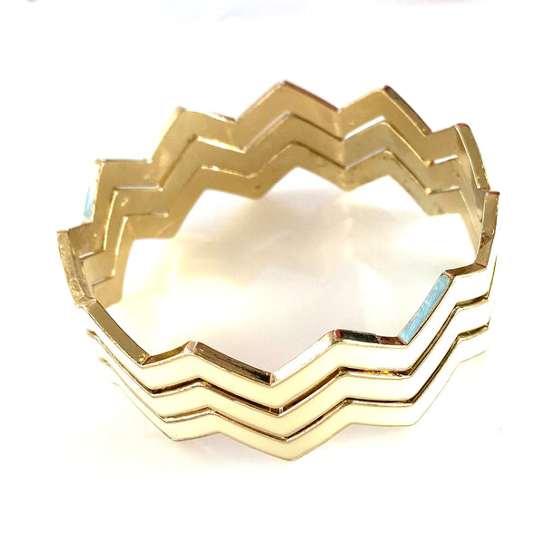 3 piece Ivory Enamel on gold  Chevron Bangles Stackef