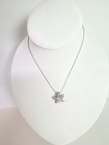 Silver Crystal Dancing Starfish Necklace