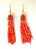 Coral Seed Bead Fishhook Tassel Earrings