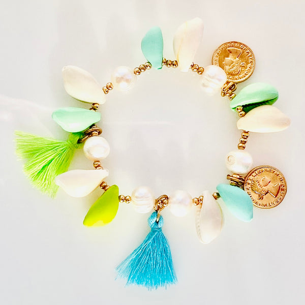 Puka Shell Turquoise and Lime Tassel Stretch