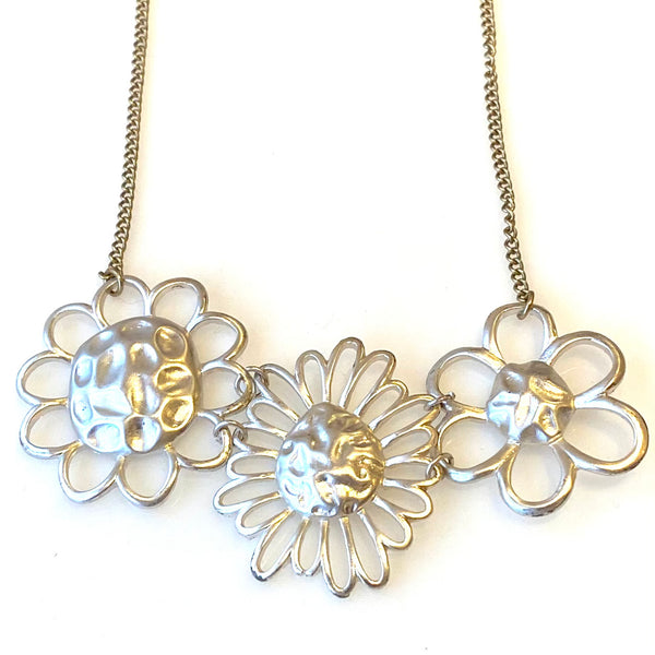 Silver Daisy Flower Necklace on gold chain
