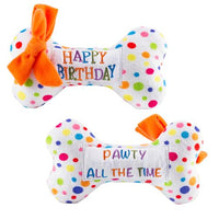 Happy birthday dog bone with multicolor polka dots and two side sentiment. One side says Happy Birthday, the other Pawty All the Time