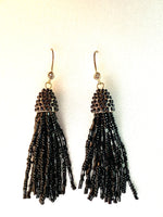 Black Seed Bead Fishhook Tassel Earrings