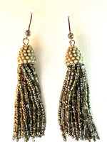 Silver Seed Bead Fishook Tassel Earrings