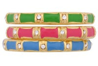 Stacked Enamel Bamboo Rings available in Royal Blue, Hot Pink, and Green in sizes 5, 6, 7, 8