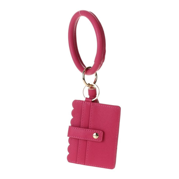 Hot pink bangle wallet key fob