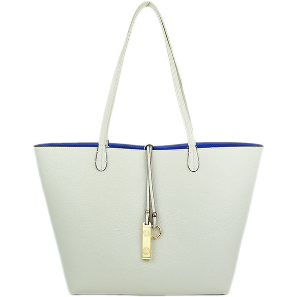 White/Royal Reversible Tote on White side