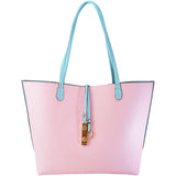 The reverse light pink side of the baby blue tote with baby blue handles