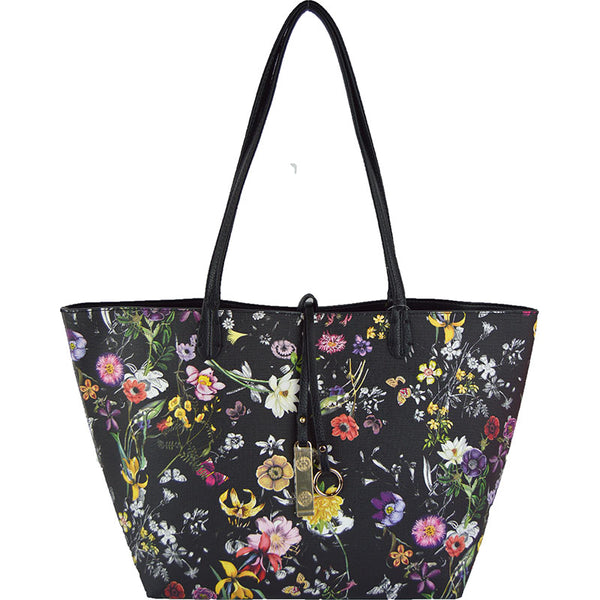 Black Floral/Solid Black Two Piece Reversible Tote