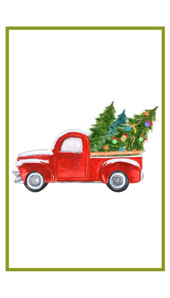 Red Truck with Christmas Trees flour sack towel
