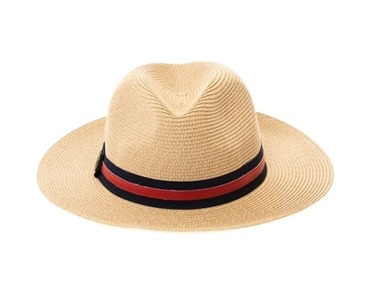 Front view of straw panama hat