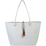 White reversing to mint Reversible Tote