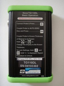 Nova TG110-DL General Purpose Ultrasonic Thickness Gauge with simple operating instruction printed on the back for handy reference - Advanced NDT Limited