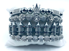 Load image into Gallery viewer, MADMUFFIN Luxury Silver 4 Piece Bracelet Cuff Set – Cuban Link Chain Iced Out Crown Jewellery with Marble Gift Box - Made from Stainless Steel - Ammunition/Bullet Inspired Design
