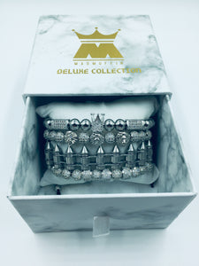 MADMUFFIN Luxury Silver 4 Piece Bracelet Cuff Set – Cuban Link Chain Iced Out Crown Jewellery with Marble Gift Box - Made from Stainless Steel - Ammunition/Bullet Inspired Design