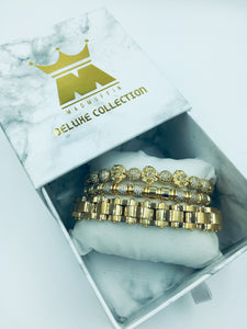 MADMUFFIN Luxury Gold 3 Piece Lion Bracelet Cuff Set – Cuban Link Chain Iced Out Crown Jewellery with Marble Gift Box - Made from Stainless Steel