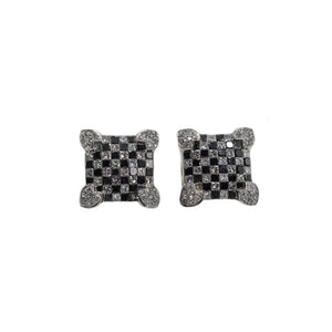 "14K Gold Black And White ""Checkered"" Diamond Earrings"