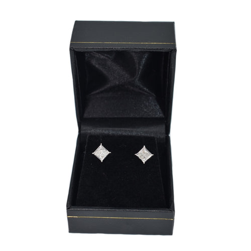 14K Gold Princess Cut Diamond Earrings (0.40ct)