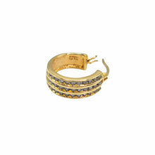 Load image into Gallery viewer, 14K Yellow Gold Hoop Earrings with Three Rows of Diamonds