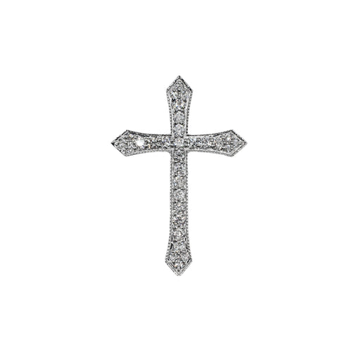 14K Gold and Diamond Filigree Cross