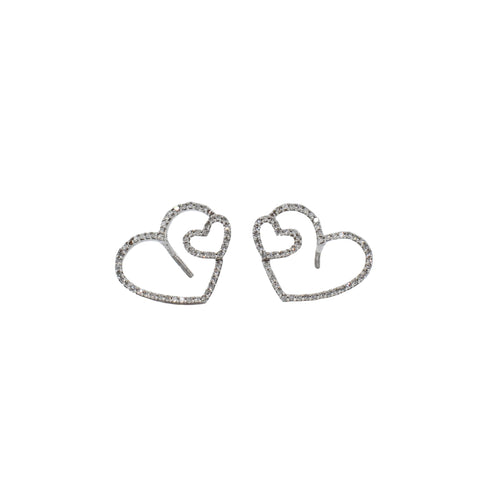 Diamond Heart Earrings Set in 14K Gold