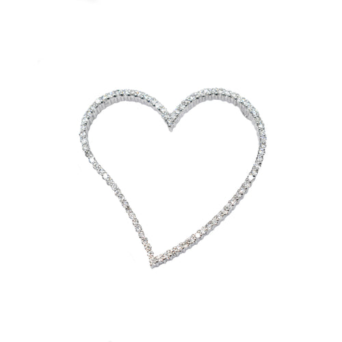 Large Diamond Heart Pendant Set in 14K Gold with 0.80ct of Diamonds