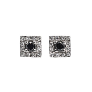 14K Gold Earrings with Black Diamond Studs, with a Halo of White Diamonds