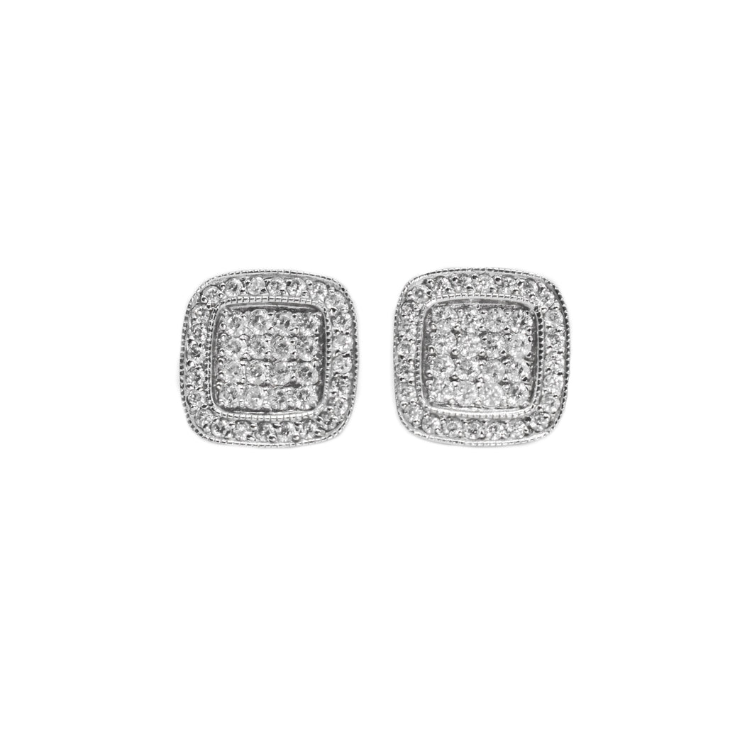 14K Gold Square Earrings with 1.75ct of Diamonds