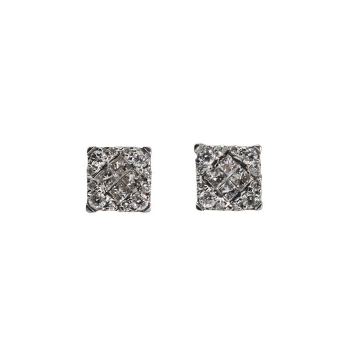 14K Gold Earrings with 1.35ct of Princess and Round Diamonds