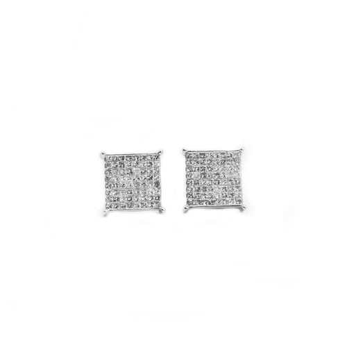 14K Gold Princess Cut Diamond Earrings with 1.00ct of Diamonds