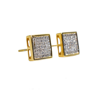 14K Gold Earrings with 1.50ct of Princess Cut Diamonds