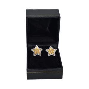 "14K Gold ""Star"" Earrings with 1ct of Diamonds"