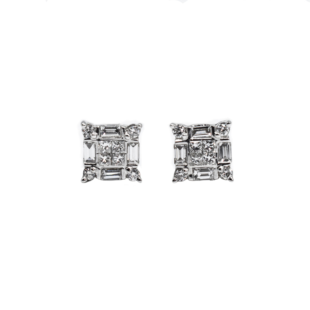 Diamond Square Earrings with Emerald, Princess & Round Diamonds set in 10K Gold
