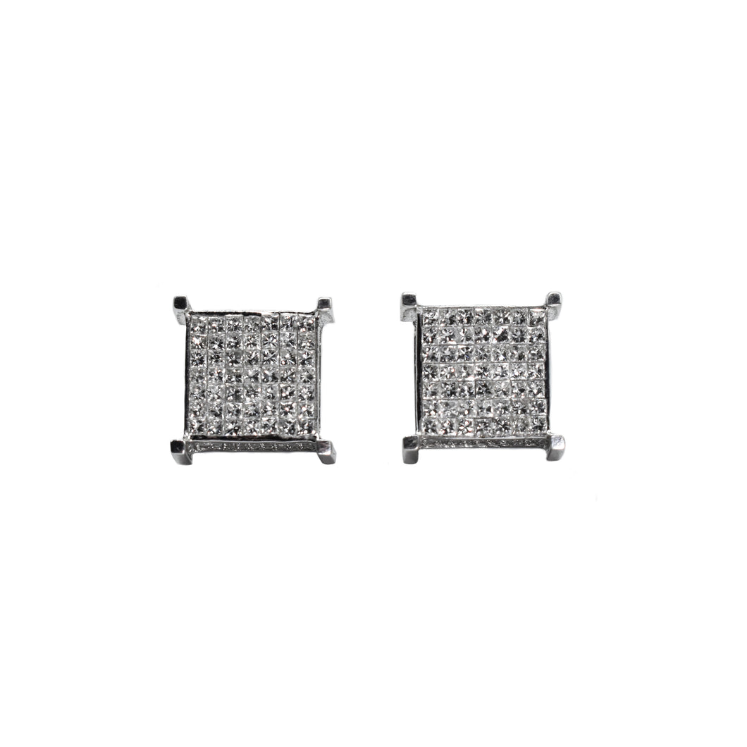 3D Princess Cut Diamond Earrings Set in 14K Gold